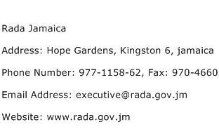 Rada Jamaica Address Contact Number