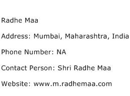 Radhe Maa Address Contact Number