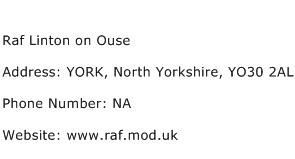Raf Linton on Ouse Address Contact Number