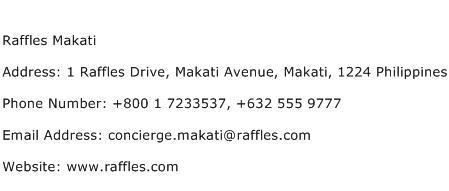 Raffles Makati Address Contact Number