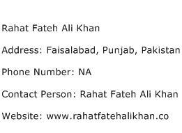 Rahat Fateh Ali Khan Address Contact Number
