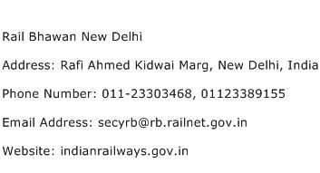 Rail Bhawan New Delhi Address Contact Number
