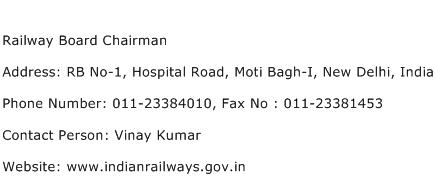 Railway Board Chairman Address Contact Number