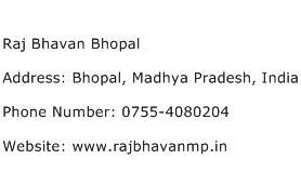 Raj Bhavan Bhopal Address Contact Number