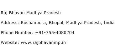 Raj Bhavan Madhya Pradesh Address Contact Number