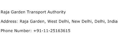 Raja Garden Transport Authority Address Contact Number