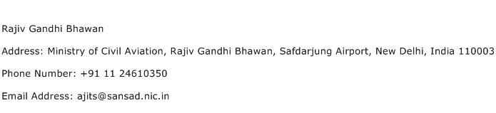 Rajiv Gandhi Bhawan Address Contact Number