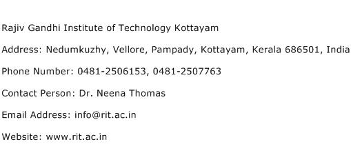 Rajiv Gandhi Institute of Technology Kottayam Address Contact Number