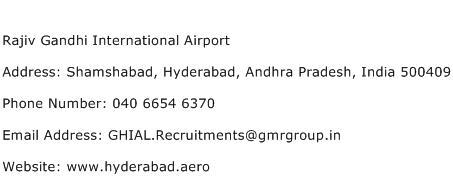 Rajiv Gandhi International Airport Address Contact Number