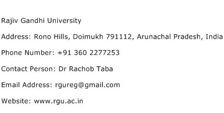 Rajiv Gandhi University Address Contact Number