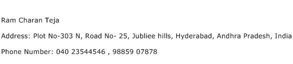 Ram Charan Teja Address Contact Number
