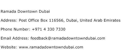 Ramada Downtown Dubai Address Contact Number