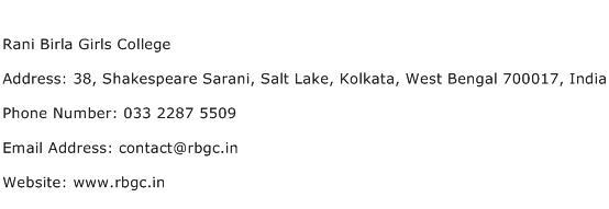 Rani Birla Girls College Address Contact Number