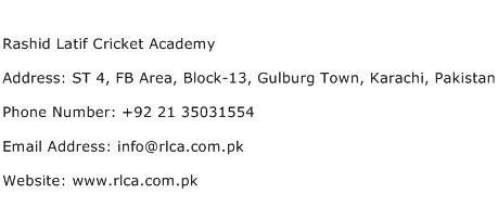 Rashid Latif Cricket Academy Address Contact Number