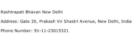 Rashtrapati Bhavan New Delhi Address Contact Number