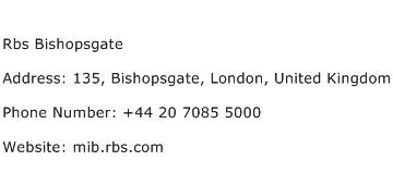 Rbs Bishopsgate Address Contact Number