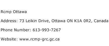 Rcmp Ottawa Address Contact Number