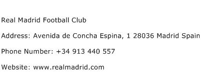 Real Madrid Football Club Address Contact Number