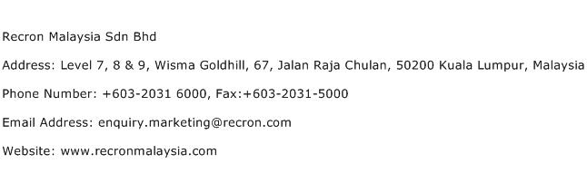 Recron Malaysia Sdn Bhd Address Contact Number
