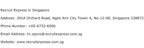Recruit Express in Singapore Address Contact Number