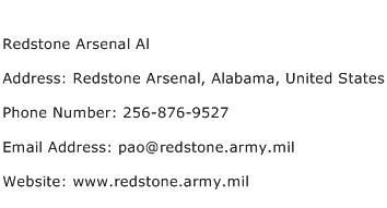 Redstone Arsenal Al Address Contact Number