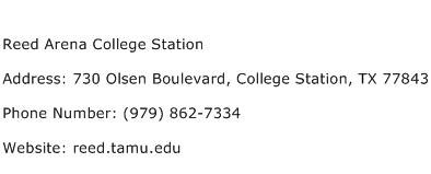 Reed Arena College Station Address Contact Number