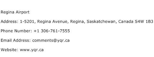 Regina Airport Address Contact Number
