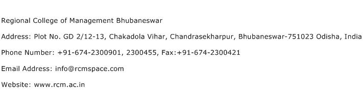Regional College of Management Bhubaneswar Address Contact Number
