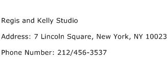 Regis and Kelly Studio Address Contact Number