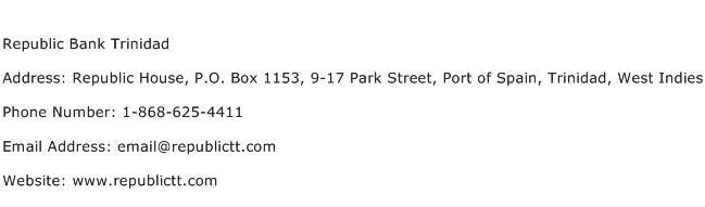 Republic Bank Trinidad Address Contact Number