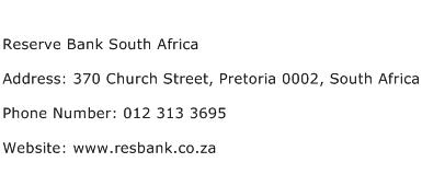 Reserve Bank South Africa Address Contact Number