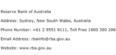 Reserve Bank of Australia Address Contact Number
