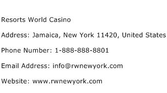 Resorts World Casino Address Contact Number
