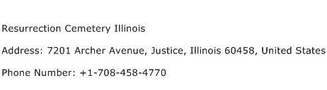 Resurrection Cemetery Illinois Address Contact Number