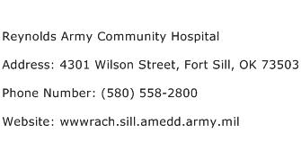 Reynolds Army Community Hospital Address Contact Number