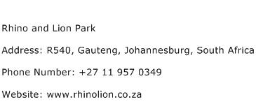 Rhino and Lion Park Address Contact Number