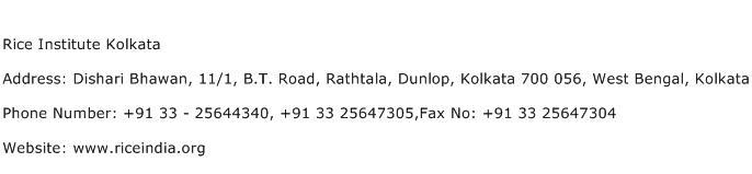 Rice Institute Kolkata Address Contact Number