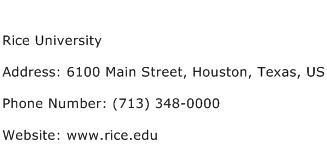 Rice University Address Contact Number