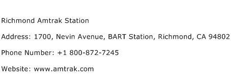 Richmond Amtrak Station Address Contact Number