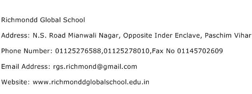 Richmondd Global School Address Contact Number