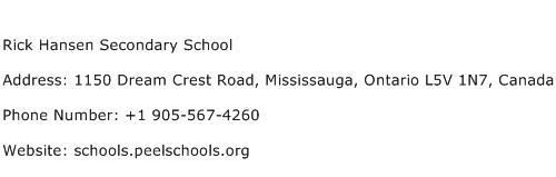 Rick Hansen Secondary School Address Contact Number