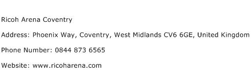 Ricoh Arena Coventry Address Contact Number