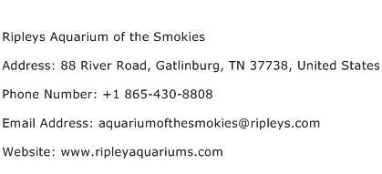 Ripleys Aquarium of the Smokies Address Contact Number