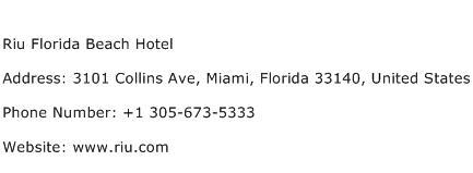 Riu Florida Beach Hotel Address Contact Number