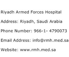 Riyadh Armed Forces Hospital Address Contact Number