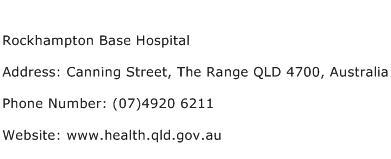 Rockhampton Base Hospital Address Contact Number