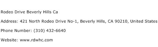 Rodeo Drive Beverly Hills Ca Address Contact Number
