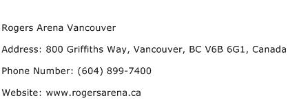 Rogers Arena Vancouver Address Contact Number