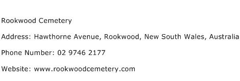 Rookwood Cemetery Address Contact Number