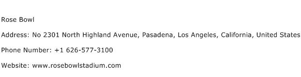 Rose Bowl Address Contact Number